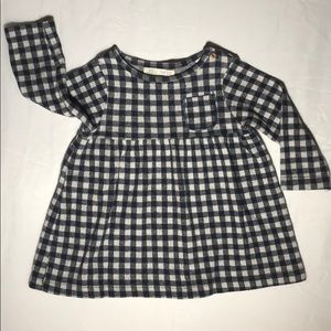 Zara babygirl Long Sleeved Navy Checked Dress